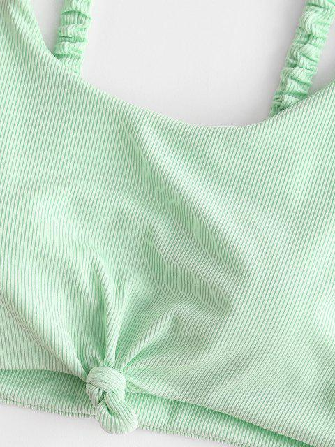 ZAFUL Maillot de Bain Tankini Côtelé Noué Fleur Imprimée - Vert clair L Mobile