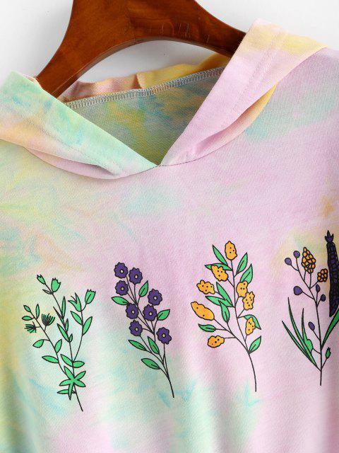 Sudadera con Capucha y Cordones Estampado de Flores - purpúreo claro S Mobile