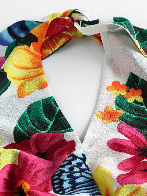 trendy ZAFUL Halter Tropical Print High Waisted Shorts Set - WHITE S Mobile