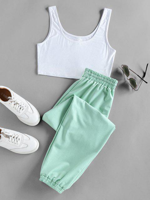 womens ZAFUL Crop Top and Drawstring Jogger Pants Set - LIGHT GREEN L Mobile