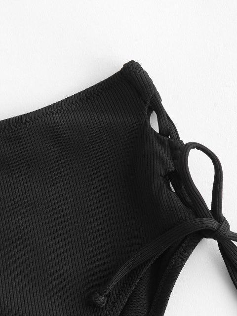 women ZAFUL Ribbed Lace Up High Leg Bikini Bottom - BLACK L Mobile