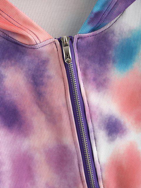 Sudadera con Capucha de Tie-dye con Cremallera Completa - Multicolor-A M Mobile