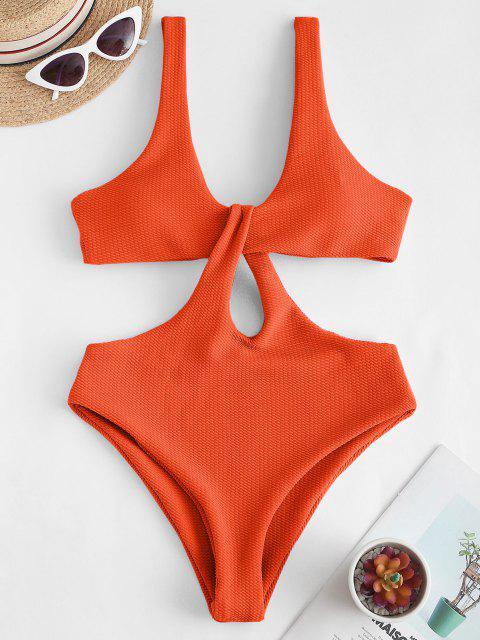 Texture Twisted Cutout Trikini Swimsuit - البرتقالي L Mobile