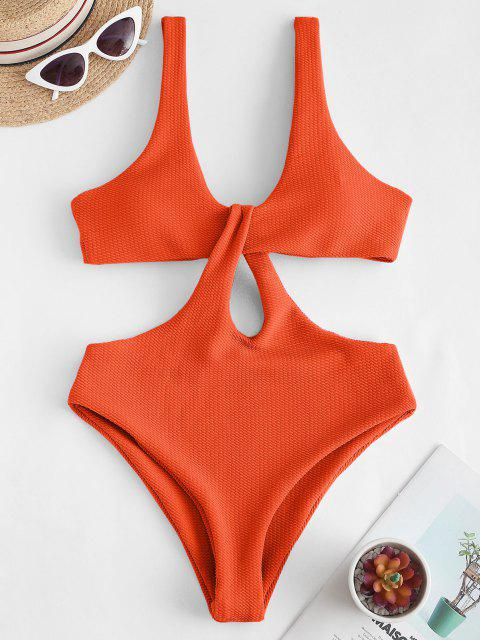 Texture Twisted Cutout Trikini Swimsuit - البرتقالي XL Mobile