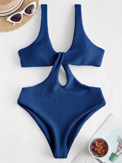 Texture Twisted Cutout Trikini Swimsuit - أزرق L Mobile