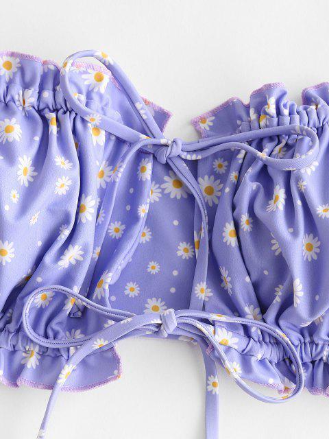 sale ZAFUL Daisy Print Ruffle Tie Side Bandeau Bikini Swimwear - LIGHT BLUE S Mobile