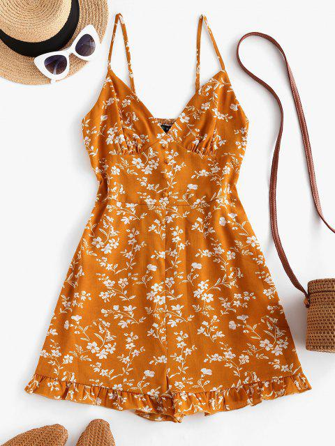 chic ZAFUL Floral Ruffle Smocked Wide Leg Cami Romper - YELLOW S Mobile