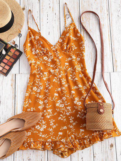 fancy ZAFUL Floral Ruffle Smocked Wide Leg Cami Romper - YELLOW XL Mobile