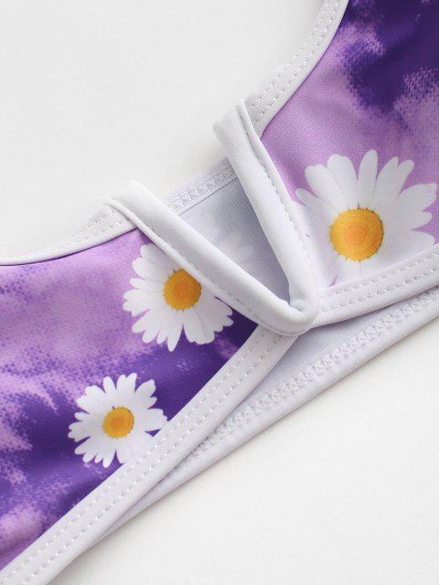 ladies ZAFUL Daisy Print Tie Dye V-wired High Cut Bikini Swimwear - LIGHT PURPLE S Mobile