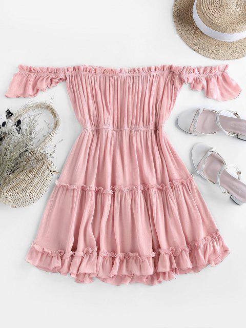 sale ZAFUL Off Shoulder Bowknot Ruffle Dress - PINK XL Mobile