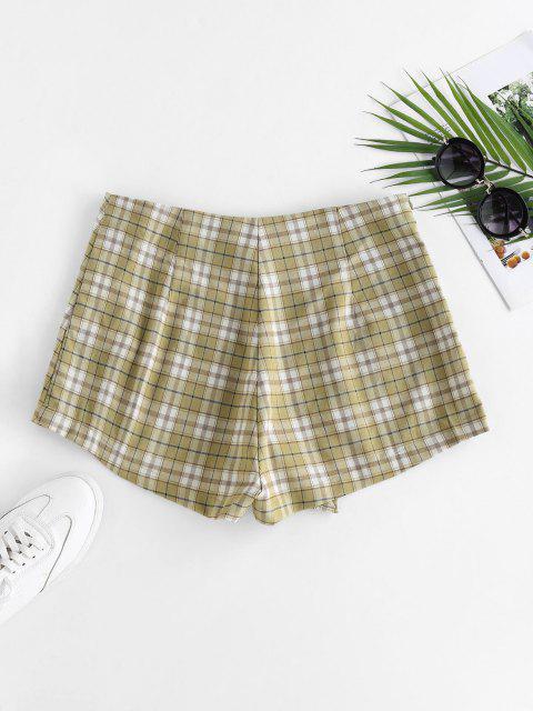 ZAFUL Karierte Überlappungs Shorts - Hellgrün M Mobile