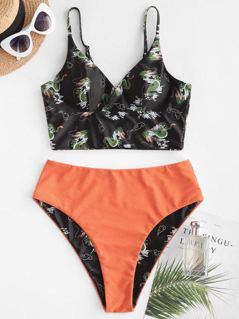 hot ZAFUL Dragon Print Oriental Surplice Tankini Swimwear - DARK ORANGE S Mobile