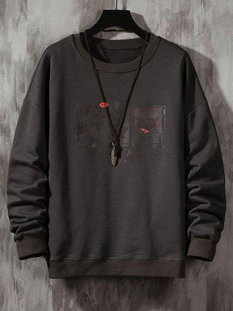 Cartoon Grafik Muster Hängender Schulter Sweatshirt - Dunkelgrau L Mobile
