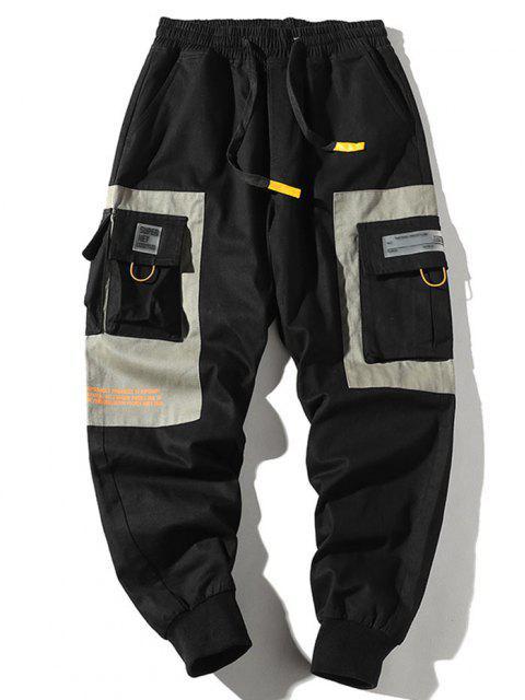 Pantalones de Carga con Cremallera de Dos Tonos con Cordón - Multicolor-B 3XL Mobile