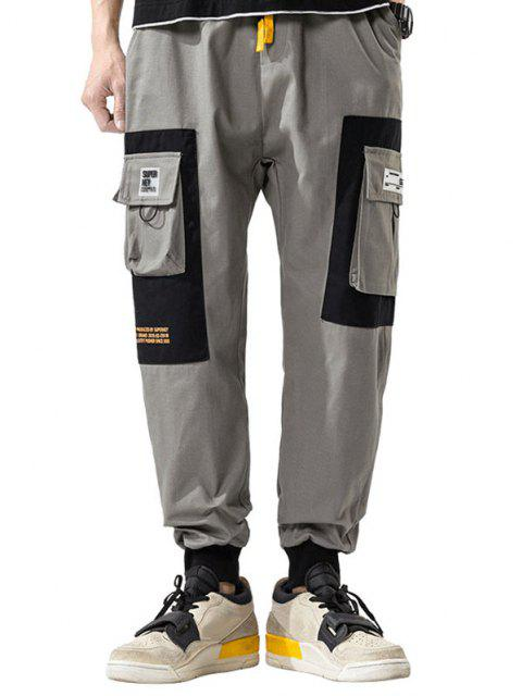 women Two Tone Flap Pockets Drawstring Cargo Pants - LIGHT GRAY M Mobile