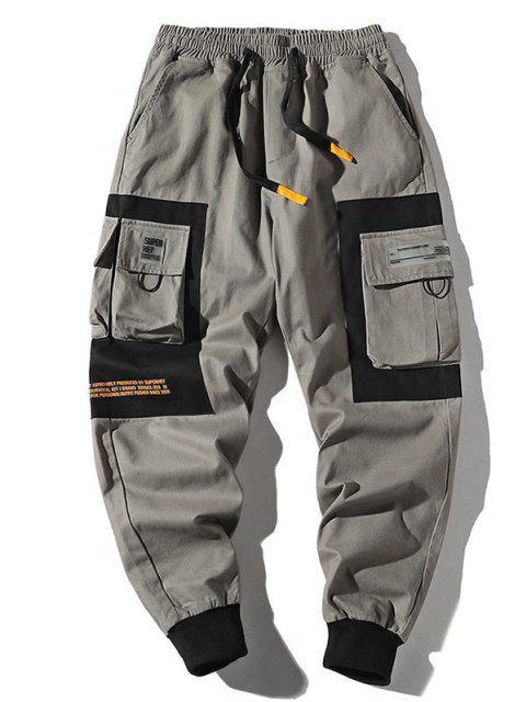 lady Two Tone Flap Pockets Drawstring Cargo Pants - LIGHT GRAY 2XL Mobile
