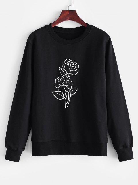 Rundhalsausschnitt Rose Druck Sweatshirt - Schwarz M Mobile