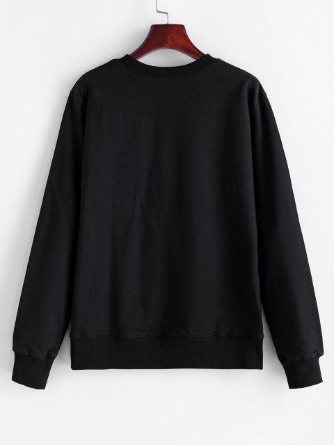 Crew Neck Rose Print Sweatshirt - أسود S Mobile