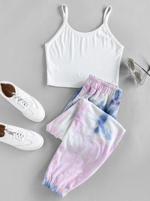 outfits ZAFUL Tie Dye Two Piece Pants Set - LIGHT BLUE L Mobile