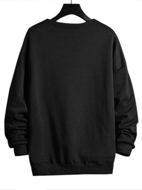 chic Lion Letter Graphic Sweatshirt - BLACK M Mobile