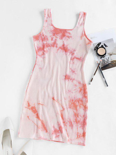 lady ZAFUL Ribbed Tie Dye Bodycon Tank Dress - LIGHT PINK L Mobile