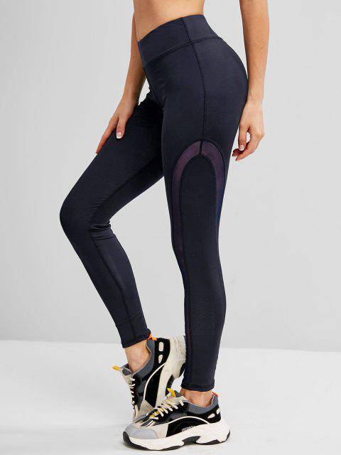 lady Mesh Panel Topstitch High Waisted Gym Leggings - DEEP BLUE S Mobile