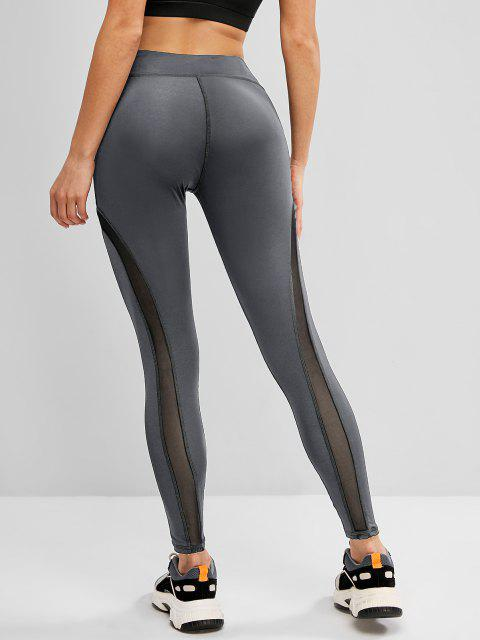 buy Mesh Panel Topstitch High Waisted Gym Leggings - GRAY S Mobile