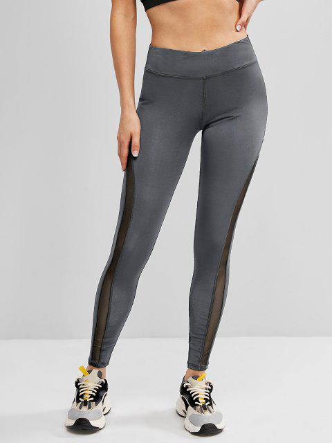 women Mesh Panel Topstitch High Waisted Gym Leggings - GRAY L Mobile