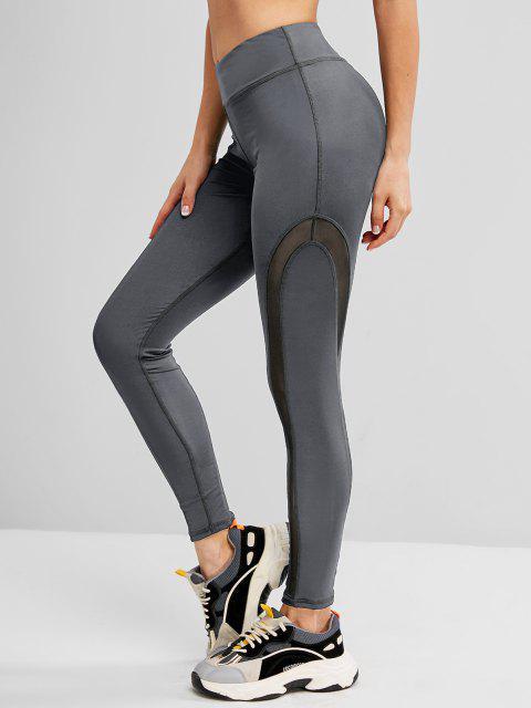 women Mesh Panel Topstitch High Waisted Gym Leggings - GRAY L Mobile