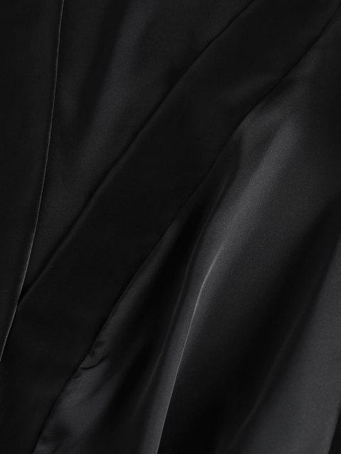 women's ZAFUL Satin Drop Shoulder Belted Pajama Robe - BLACK L Mobile