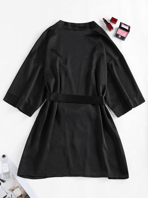 women ZAFUL Satin Drop Shoulder Belted Pajama Robe - BLACK M Mobile