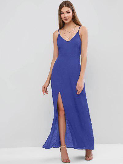 ZAFUL Maxi Vestido De Tirante Fino Con Abertura - Azul M