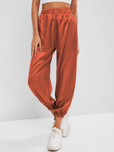 Silky Satin Beam Feet Pants - Orange
