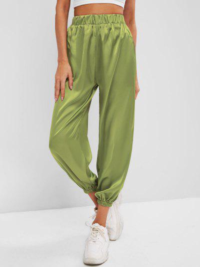 Silky Satin Beam Feet Pants - Green