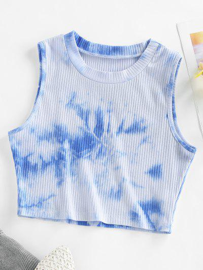 ZAFUL Ribbed Tie Dye Crop Tank Top - Light Blue Xl
