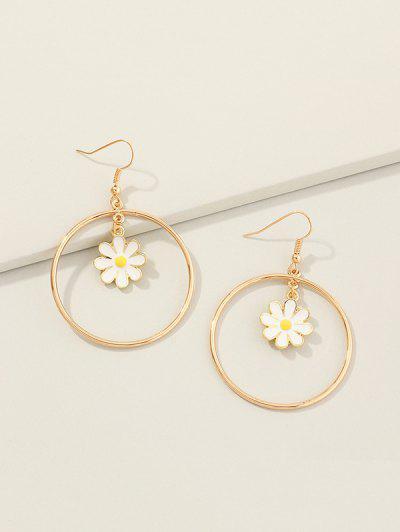 Boucles D'Oreilles Pendantes Cercle Marguerite Fleur - D'or