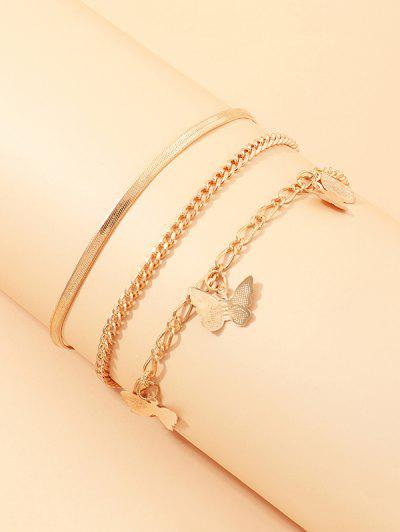 3Pcs Butterfly Chain Anklets Set - Golden