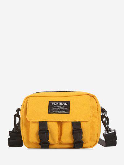 Multi-pockets Canvas Mini Crossbody Bag - Yellow