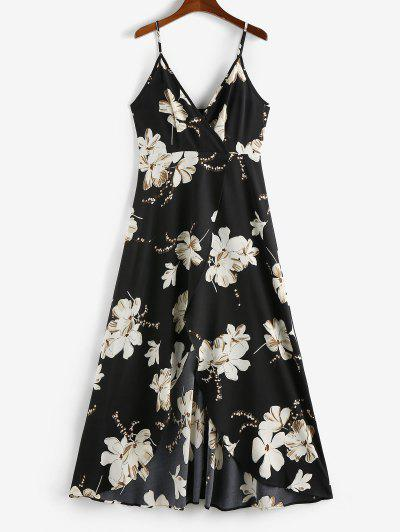 ZAFUL Flower Slit Maxi Surplice Dress - Black M