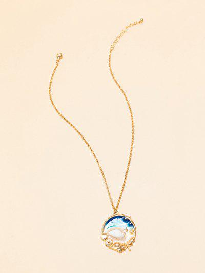 Beach Ocean Shell Epoxy Necklace - Multi-a