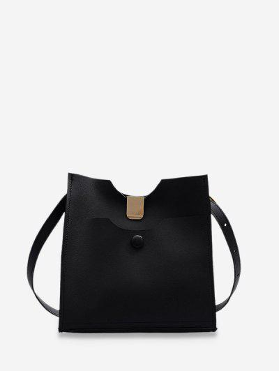 Pure Color Leather Sling Bucket Bag - Black