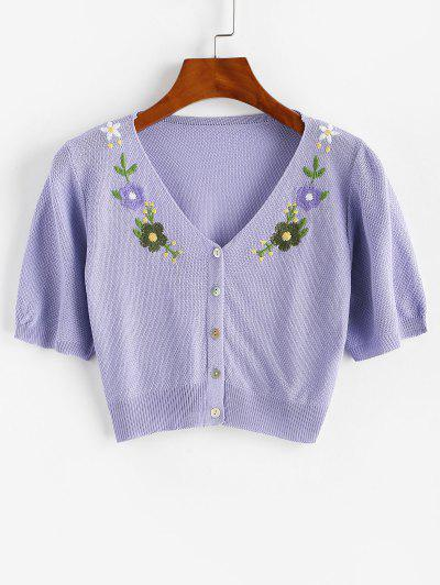 Flower Embroidered Knit Button Front Tee - Light Purple