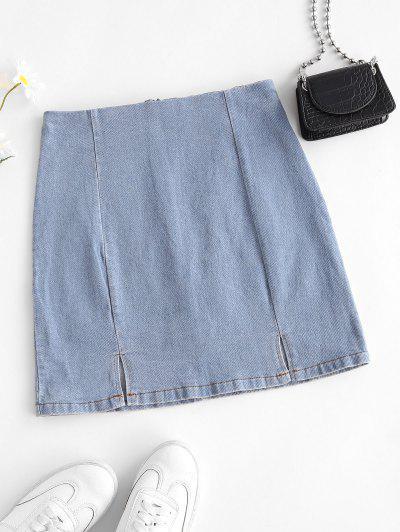 M-slit Sheath Denim Skirt - Powder Blue L