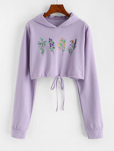 Flower Print Drawstring Pullover Crop Hoodie - Light Purple M