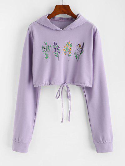 Flower Print Drawstring Pullover Crop Hoodie - Light Purple M