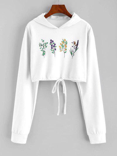 Flower Print Drawstring Pullover Crop Hoodie - White M