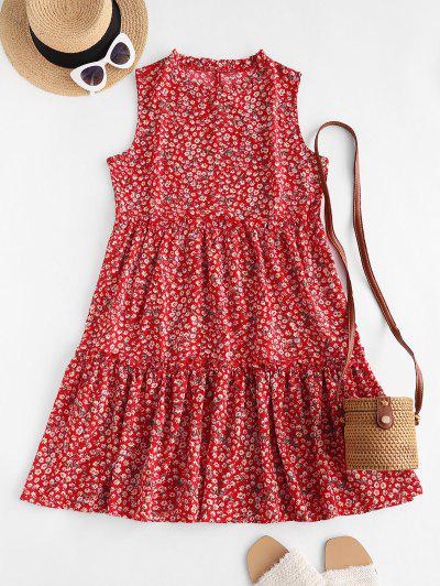 Tiny Floral Print Sleeveless Tiered Dress - Red Xl