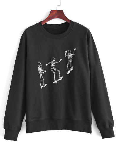 Skeleton Skateboard Print Sweatshirt - Black L
