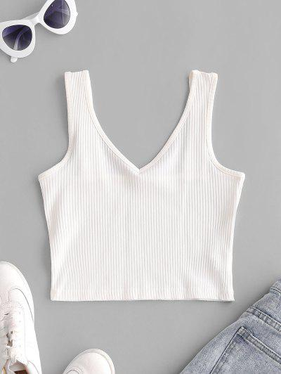 V Neck Solid Ribbed Crop Top - Crystal Cream Xs