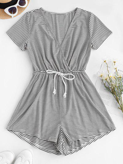 Striped Drawstring Wide Leg Surplice Romper - White L